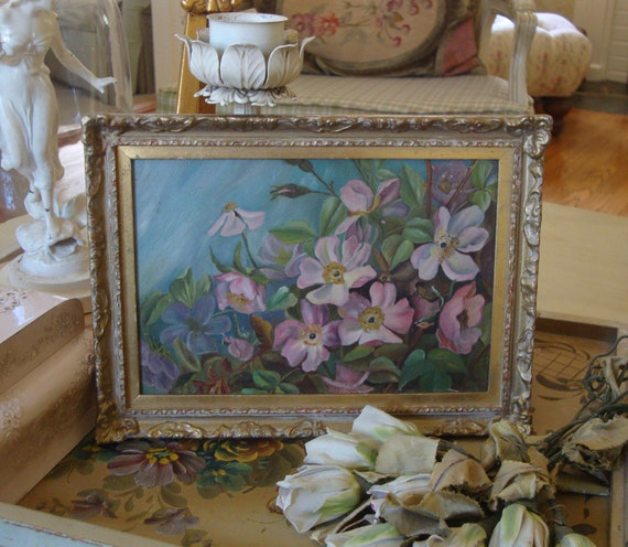 VINTAGE OIL PAINTING - Aqua - On Board - Gesso Frame - Pink Flowers - Shabby Chic