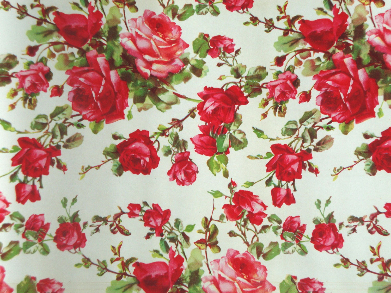 Vintage ROSES Shelf Liner Paper Floral Flowers by IWANTVINTAGE  Vintage ROSES S...