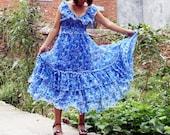 ON SALE 40% OFF---chiffon maxi dress flouncing dress bohemian  dress V-neck dress silk dress chiffon dress beach dress long dress blue dress