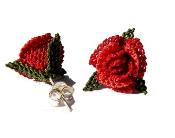 Red rose earring, delicate lace earrings, small petite post rose flower, silver stud, tatted lace rose  ear studs
