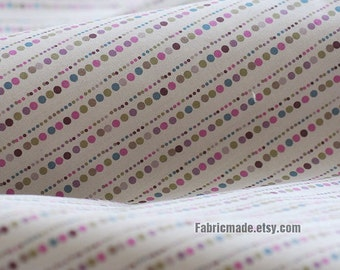 Light Grey Cotton Fabric With Pastel Droplet Dots Stripes, Designer Fabric- Dots Fabric 1/2 Yard