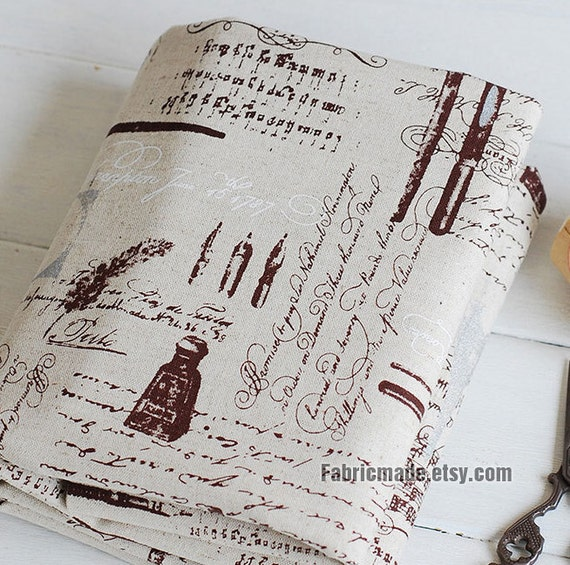 Vintage Letters Fabric Cotton Linen Fabric French Eiffel Stamp Pen Fabric/ Paris Fabric- A Half Yard