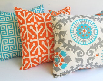 Throw pillow covers set of three cushion covers Orange Natural Aqua Blue Gray pillows orange pillow shams home decor