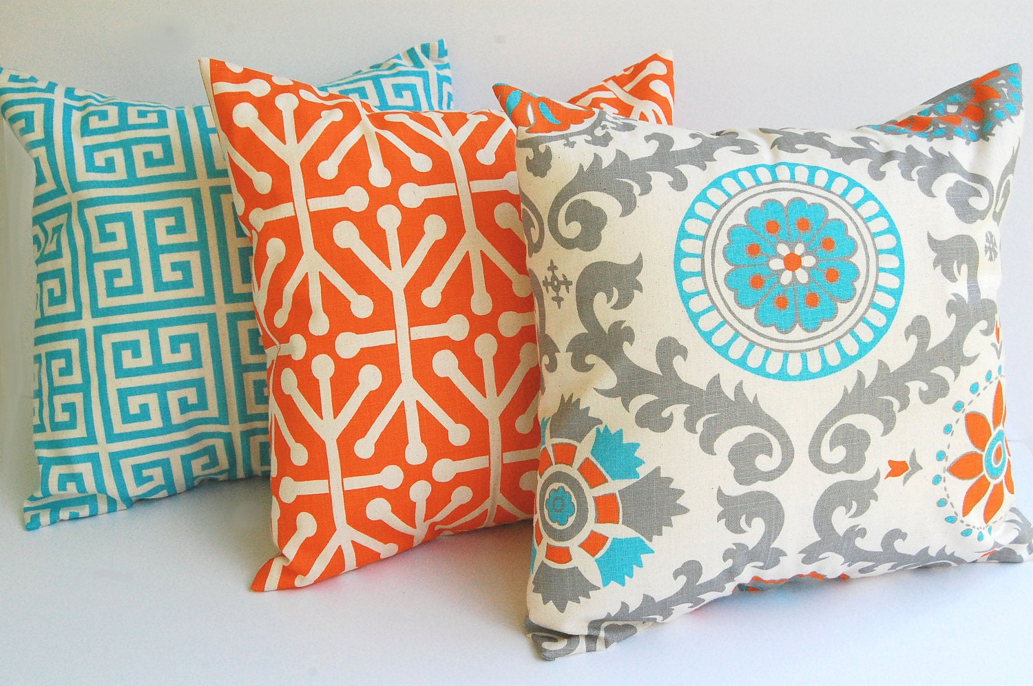 Blue and orange living room - Throw Pillow Covers Set Of Three Cushion Covers Orange Natural Aqua Blue Gray Pillows Orange Pillow Shams Home Decor