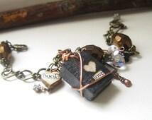 Mini Book Jewelry -  Book Nerd - Charm Bracelet -Victorian Style - Writers Jewelry