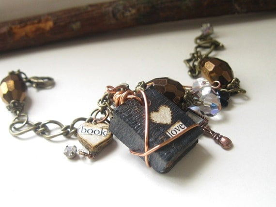 Mini Book Jewelry -  Book Nerd - Charm Bracelet -Victorian Style - Writers Jewelry