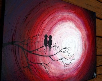 "24"" by 36"" Love Birds on a Tree Limb in the Sunset: Red, Purple, Black, White, highly textured Acrylic Abstract Painting on Canvas"