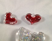 3D Hearts filled with colorful glitter