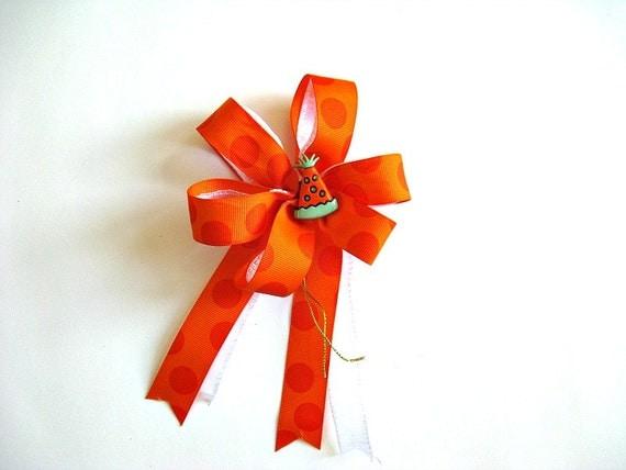 Bright orange mini bow with birthday party hat (SB30)