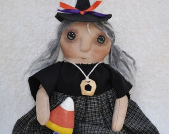 SALE! Fretta's Hand stitched Halloween Witch. Primitive doll, Folk Doll. Child Friendly Rag Doll.