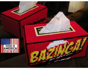 NEW Bazinga  Hand Made Tissue Box Cover Big Bang Theory Sheldon Cooper Kleenex Rubik