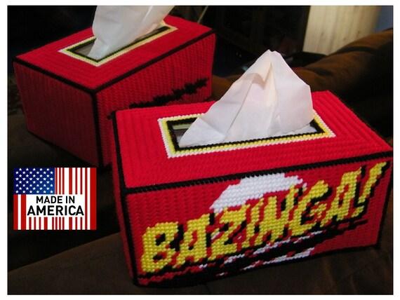 NEW Bazinga  Hand Made Tissue Box Cover Big Bang Theory Sheldon Cooper Kleenex Rubik