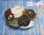 Women's Flower Brooch, Burlap, Olive, Forest Green, Brown Headband, Hair Accessory, Fabric Flower Hair Clip, Baby Photo Prop