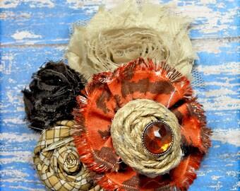 Hair Accessories, Rust, Beige, Brown, Tan Headband, Fabric Flowers, Hair Bow, Fabric Flower Brooch, Hair Accessory, Hair Clip