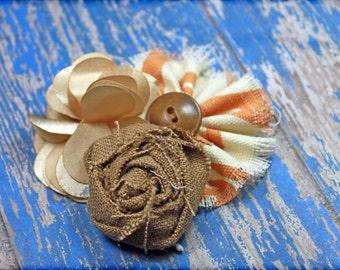 Ivory, Orange, Tan Headband, Hair Accessories, Baby Girl Hair Bow, Flower Hair Accessory, Fabric Flowers Brooch, Flower Hair Clip
