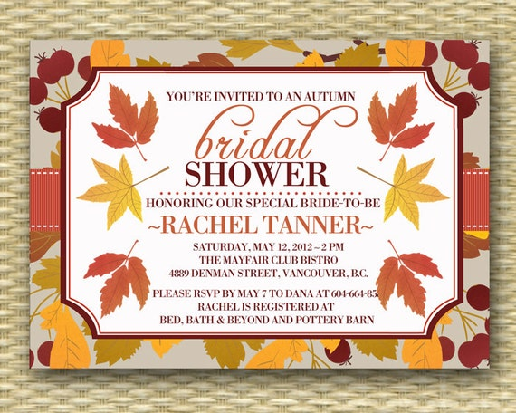 Fall Wedding Shower Invitations: Fall Bridal Shower Invitation Wedding Shower Invitation