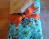 "Turquoise, Brown Burp Cloths ""Giraffe"""