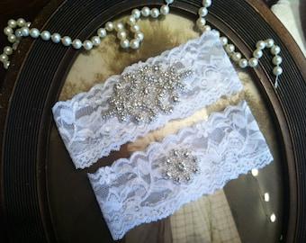 SALE-Wedding Garter - White Lace Garter Set - Rhinestone Garter - Applique Garter - Vintage - Bridal Garter - Vintage Garter - Toss Garter