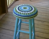 """Kitchen Bar Stool 30""""  high with Granny Square Mandala Crochet Cover Blue Green Upcycle Recycle Littlestsister"""