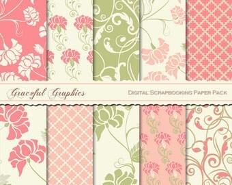 Scrapbook Paper Pack Digital Scrapbooking Background Paper FLOWERS Floral SWIRLS Pink Pea Green White 10  8.5 x 11 1443gg