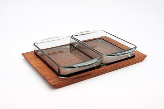 "Danish teak ""Kabaret"" serving tray with Holmegaard Smoked Glass Inserts"