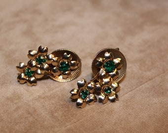 Vintage Emerald Crystal and Gold Tone Flowered Design Earrings