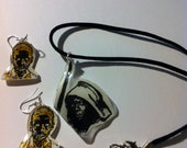 Michonne necklace set with zombie earrings Walking Dead - Hand-painted on shrink plastic