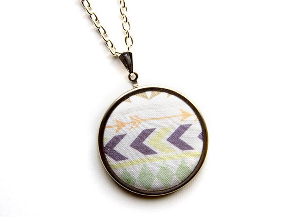 Chevron Necklace - Tribal Fabric Pendant Necklace - Original Textile - 18 in chain - Geometric Jewelry - Arrows Statement Necklace