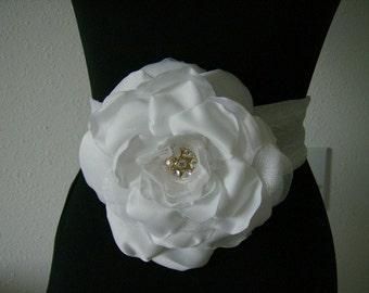 Couture inspired handmade flower Sash/ Bride Belt