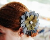 Green and Gray Vintage inspired Bridesmaid Fascinator Feathers Hair Flower