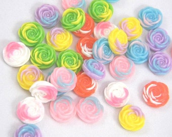 14 Resin Roses, Flat Back Flowers, Assorted Mix, 14mm, Jewelry Supplies