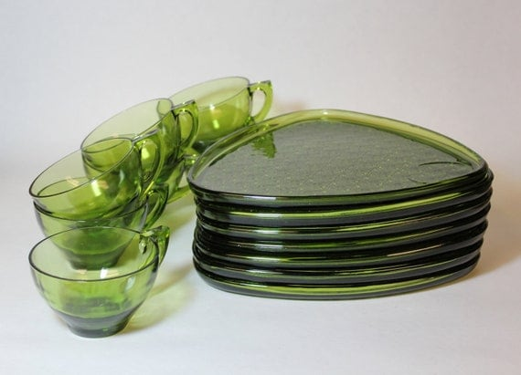 Glass Tea Set Mid Century Retro Triangle Snack Plates And