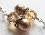 Bronze Crystal and Swarovski Pearl Love Knot Earrings on Sterling Silver Leverbacks. Beige. Brown. Classic. Topaz.