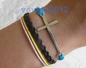 God's blessing bracelet,silver cross bracelet,Dark brown Knitting leather bracelet,A--178