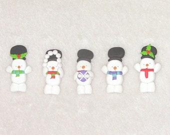 5 polymer clay snowmen - (fimo) card making embellishments
