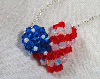 American Flag Swarovski Crystal Necklace