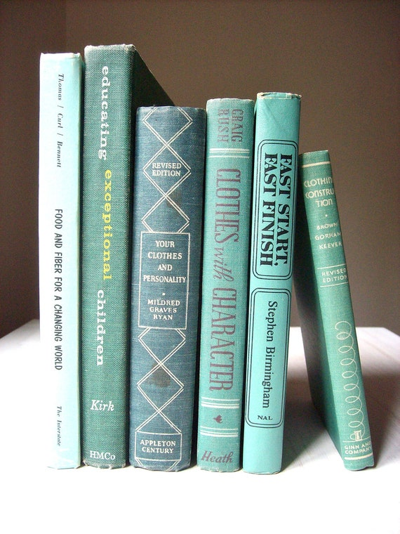 Vintage Books: Instant Blue-Green Collection, 6 Books, Aqua Interior Design