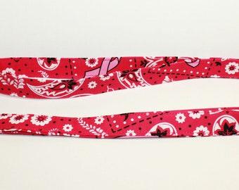 Breast Cancer Awareness lanyard - Pink bandanna Fabric Lanyard - Personalized lanyard