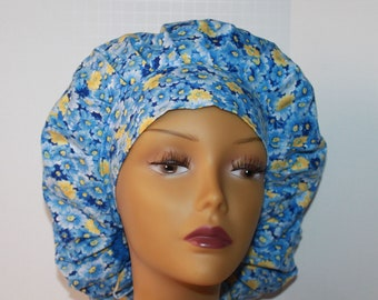 Bouffant Surgical Scrub Hat - Packed Blue Floral fabric bouffant scrub hat - Ponytail Scrub hat - Custom Scrub Hat - Personalized Scrub hat