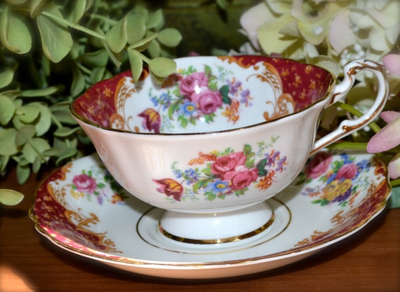 Vintage Paragon Fine Bone China Tea Cup and Saucer, Rockingham-Red, Gold Gilt, Tea Cup and Saucer, England