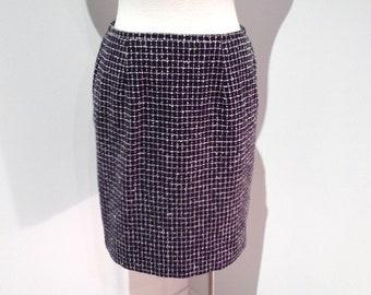 Nautical Skirt Size 8, Navy Blue and White Women's Skirt, Norton McNaughton Short Lined Wool Skirt, Petite