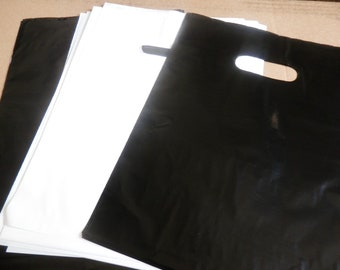 100 pack 9 x 12 Black and White Glossy Retail Merchandise bags  Low Density Plastic Merchandise Gift Bags