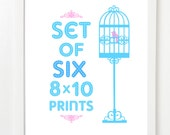 Set Of Six City Prints - City Skyline Series - Pick Your Mix and Colors 8x10 image