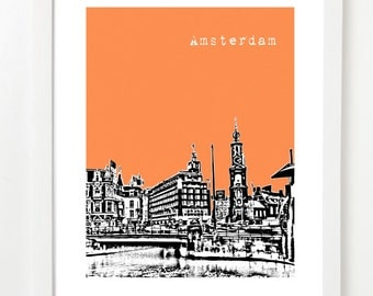 Amsterdam Poster - Amsterdam Netherlands City Skyline Art Print - Netherlands Travel Art