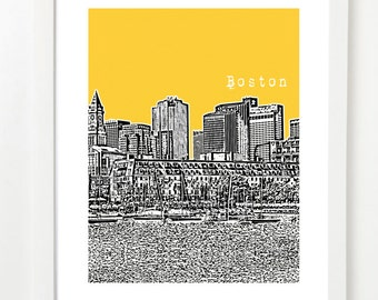 Boston Poster - Lewis Wharf - North End Boston - Boston North End City Skyline Series Art Print -