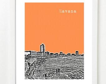 Havana Art Print - Havana Cuba City Skyline Poster - Malecon - VERSION 2