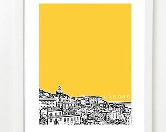 Lisbon Portugal Poster - City Skyline Art Print - Lisbon Travel Art