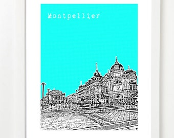 Montpellier  - France -  Place de la Comedie Art Print - City Skyline Poster