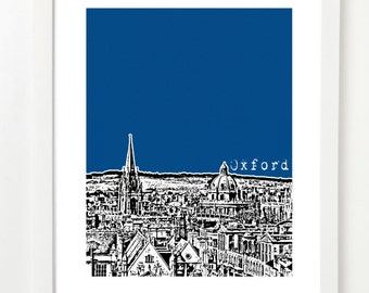Oxford City Skyline Illustration - Oxford England Art Print - United Kingdom Poster - Oxford UK Gift
