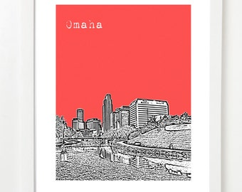 Omaha Art Print - Omaha Nebraska Skyline Poster - Digital Print